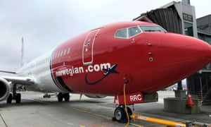 A Norwegian Air plane is refuelled in Oslo