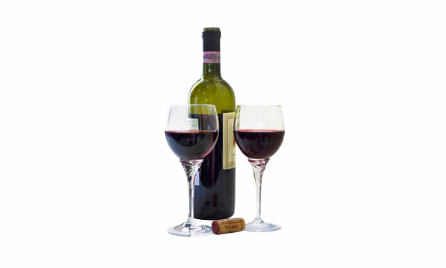 Wine - a bottle and two glasses. General Store's Just Good Wine club provides wine and recipe ideas