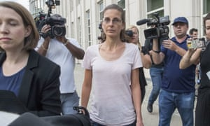 Clare Bronfman, center, leaves federal court,on 24 July, in Brooklyn, New York.