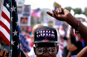 A Cuban activist participates in a rally near the White House in Washington DC. Cuban activists and demonstrators held a rally to urge the US government to intervene in the island state to support human rights and end communism. In Cuba, thousands of people risked jail by joining the biggest protests for decades.