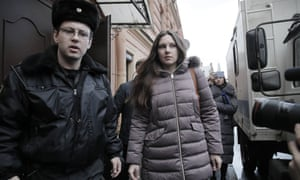 Alla Ilyina is escorted by a bailiffs from court after a session in St Petersburg on Monday.
