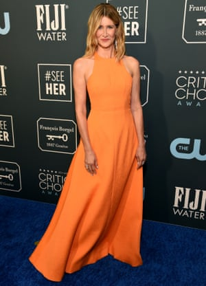 Laura Dern, who won best supporting actress for her role in Marriage Story, arrives at the awards ceremony.