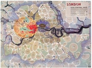 Image from 1943, showing a 'social & functional' analysis of London.