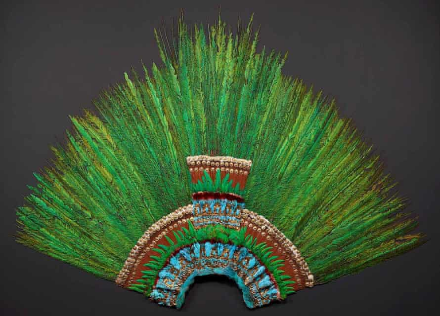 a feathered headdress (pictured) thought to have belonged to a Mexican priest World Museum, Vienna