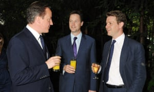 David Cameron, Nick Clegg and Fraser Nelson at the the Spectator summer party in 2010.