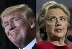 The US president-elect Donald Trump and beaten Democrat candidate Hillary Clinton