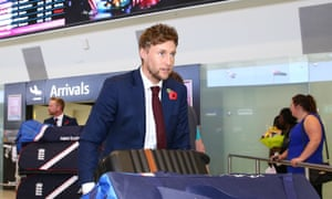 Joe Root arrives at Perth Airport in preparation for England's Ashes series against Australia.