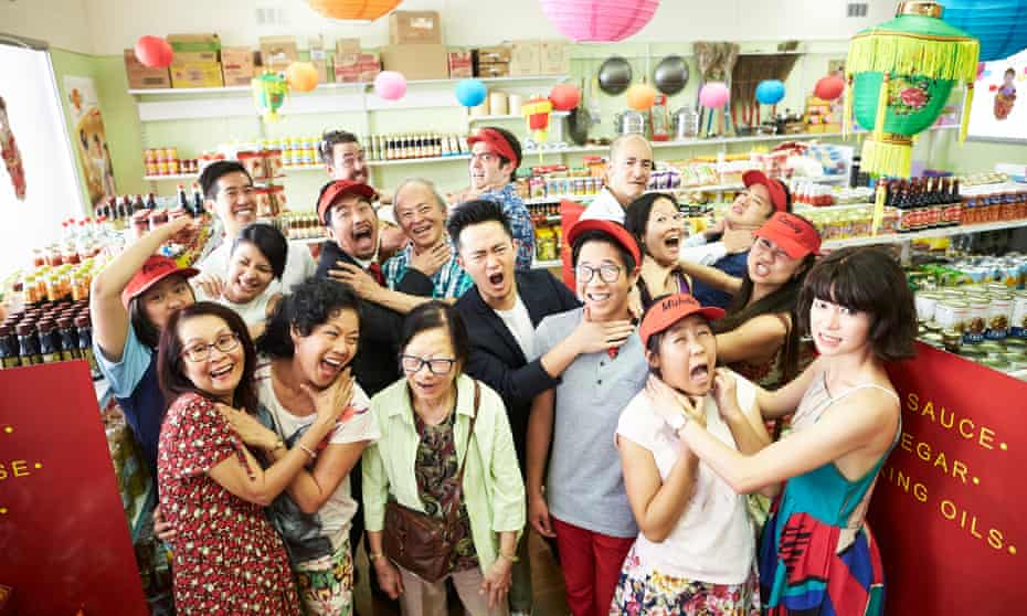 The Law family, including writer Benjamin Law, and the actors who play the characters based on them in the SBS TV show The Family Law