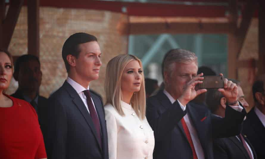 Jared Kushner and his wife, Ivanka Trump. The president's son-in-law has mostly shied from the public stage, but he now is working in history's spotlight.