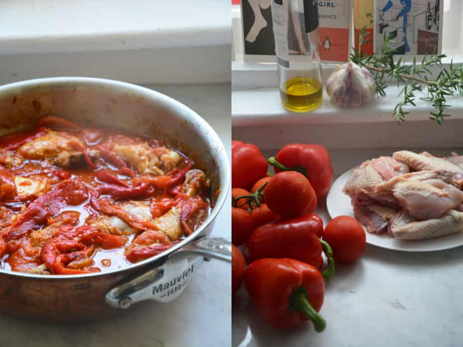 'Chicken with peppers transforms after a rest, the flavours deepen and sink into the chicken flesh, which becomes rosy.'