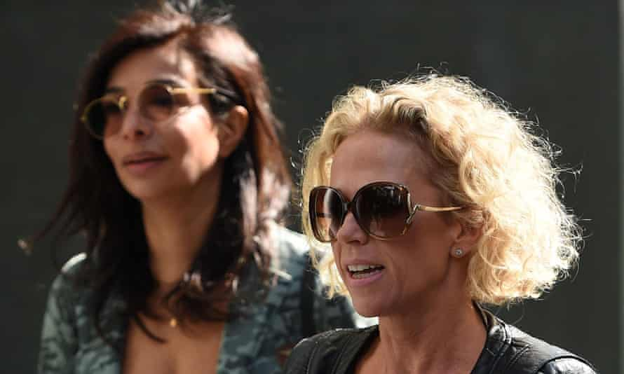 Soap actors Shobna Gulati (left) and Lucy Taggart, both victims of phone hacking, arrive at court