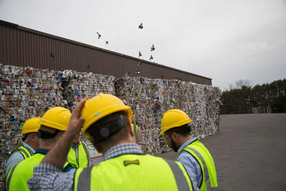 Bales of recycling in Maine.