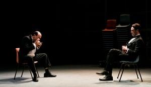 Josh McConville as a young Kerry Packer, with Nick Bartlett as Rupert Murdoch.