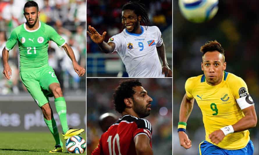 Riyad Mahrez of Algeria, Congo's Dieumerci Mbokani, Gabon's Pierre-Emerick Aubameyang and Egypt's Mohamed Salah.