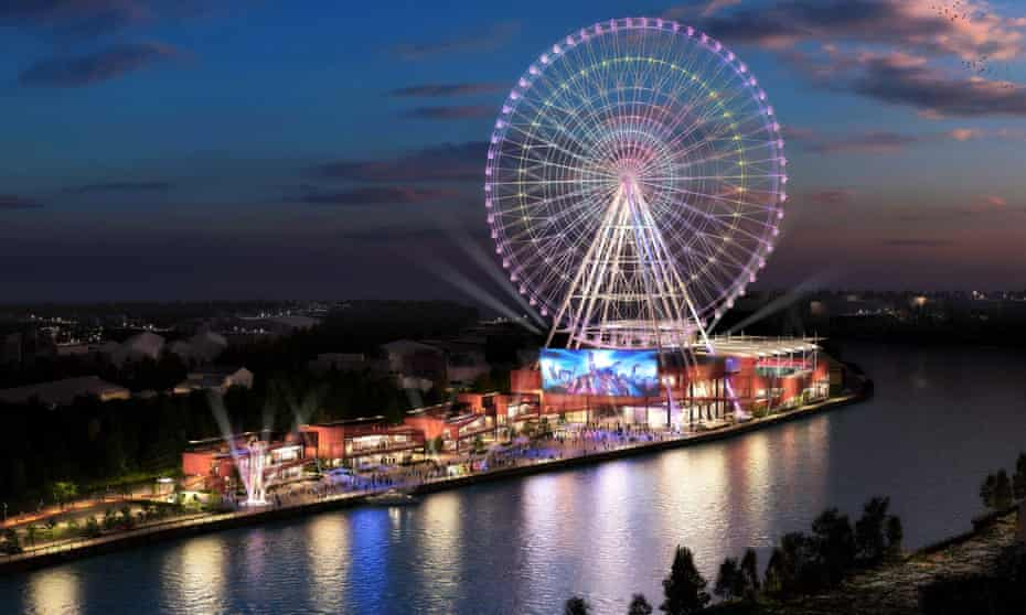 An artists impression of the Whey Aye, which developers want to build on the banks of the Tyne, Newcastle.