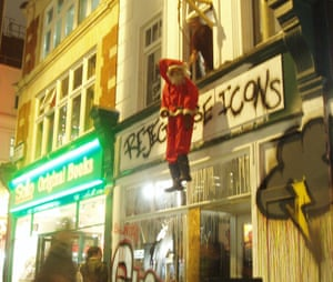 Toilet trouble … Father Christmas makes an appearance at Santa's Ghetto.