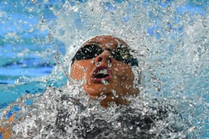 Canada's Kylie Masse competes on her way to winning the women's 100m backstroke final.
