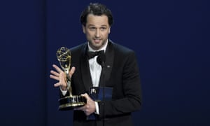 Matthew Rhys accepts the award for outstanding lead actor in a drama series for The Americans at the Emmy awards.