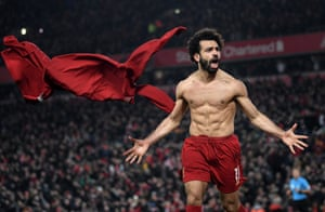 Mo Salah celebrates after scoring Liverpool's second goal against Manchester United.