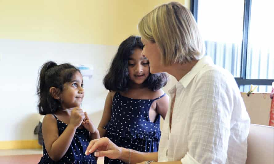 Senator Kristina Keneally with Kopica, aged 5 and Tharunicaa aged 3 in the visitors room at the Christmas Island detention centre. 17th April 2021.