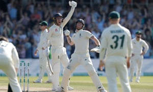 Ben Stokes (centre) and Jack Leach lift their arms in celebration after the former hit the winning runs at Headingley.