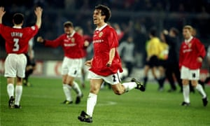 Gary Neville of Manchester United celebrates victory over Juventus.