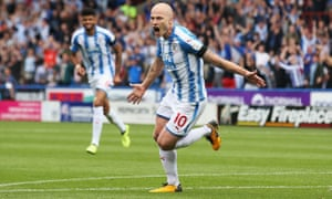 Aaron Mooy celebrates scoring for Huddersfield against Manchester United