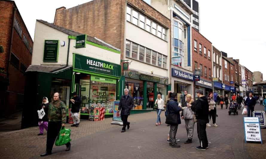 Shoppers in Preston city centre