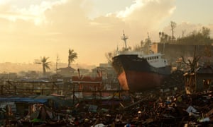 A ship has been washed ashore in the Philippines after typhoon Haiyan