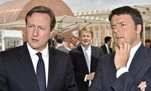 David Cameron and Matteo Renzi (right)