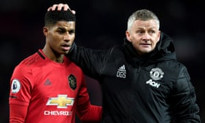 Manchester United's manager, Ole Gunnar Solskjær, with Marcus Rashford last December.