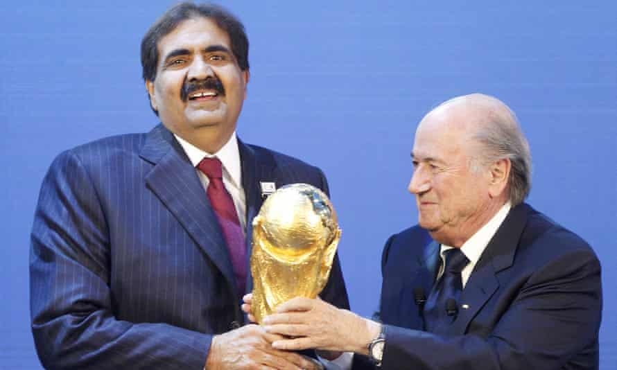 Sheikh Hamad at the 2010 announcement that Qatar had been awarded the 2022 World Cup.