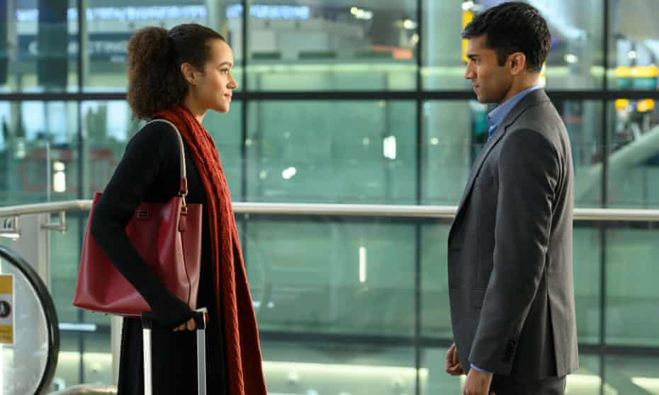Nathalie Emmanuel and Nikesh Patel in Four Weddings and A Funeral.
