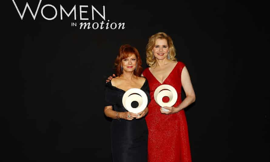 Susan Sarandon and Geena Davis accepting their awards