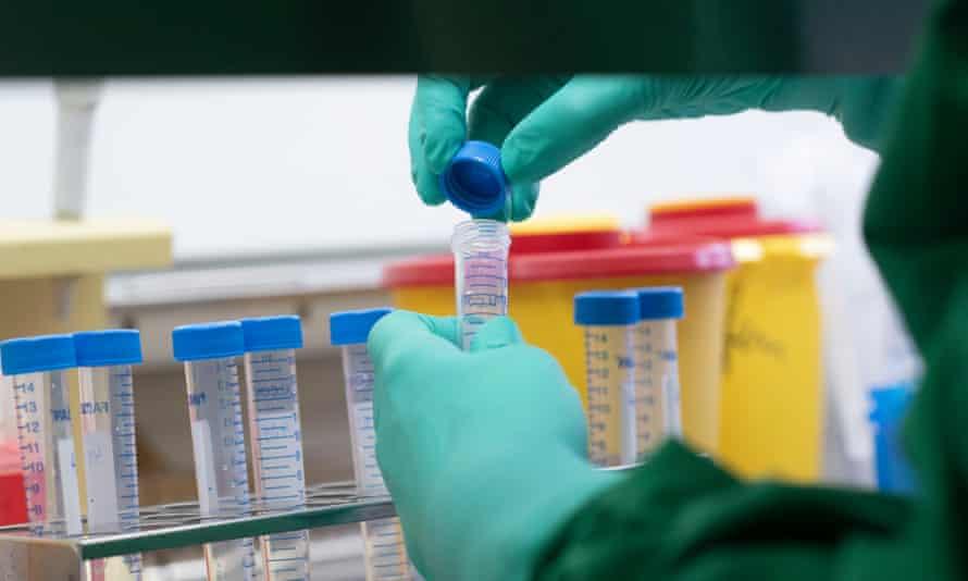 Coronavirus test samples in a lab