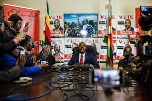 Movement for Democratic Change (MDC) party leader Nelson Chamisa in Harare, Zimbabwe