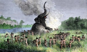 Prehistoric wooly mammoth hunters using bows and arrows