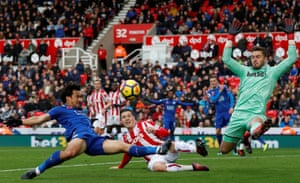 Stoke City's Kevin Wimmer and Jack Butland defend the threat from Leicester City's Shinji Okazaki during the 2-2 draw.