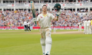 Steve Smith salutes the Edgbaston crowd after being dismissed 142 in Australia's second innings.