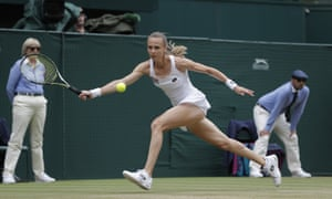 Magdalena Rybarikova stretches for a return.