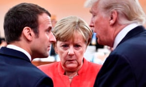 Emmanuel Macron, Angela Merkel and Donald Trump at last year's G20 meeting.