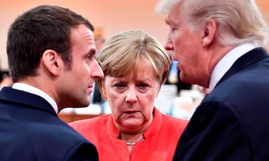 Emmanuel Macron, Angela Merkel and Donald Trump at last year's G20 meeting.