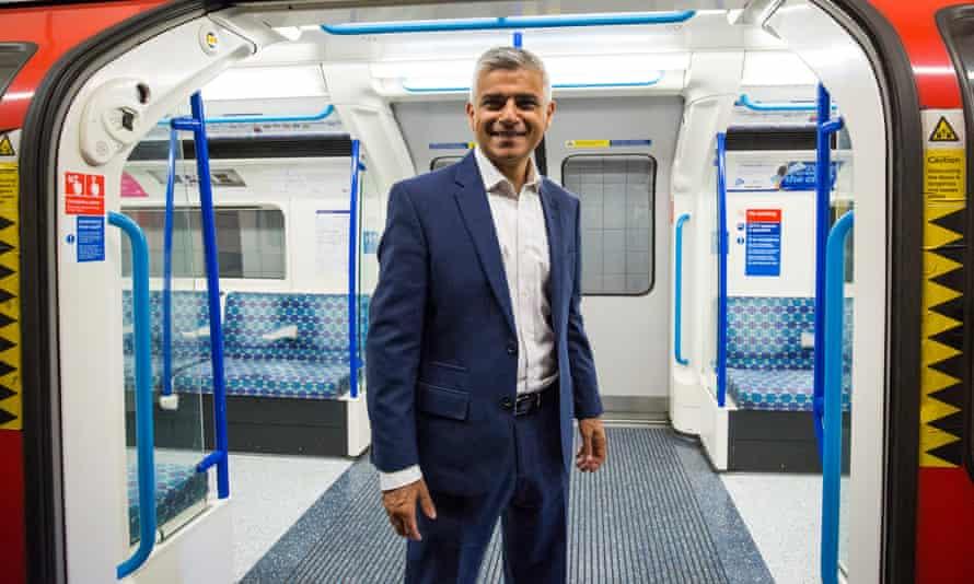 The London mayor, Sadiq Khan, marks the opening of the night tube in 2016.