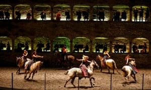 Hoarse singers alert? Hippodrama - a horse ballet - to Mozart's Davide Penitente in Salzburg, 2015.