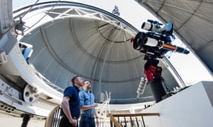 Astronomers Tom Kerss and Brendan Owens with the newly installed Annie Maunder astrographic telescope.