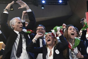Lausanne, SwitzerlandMembers of Milan-Cortina delegation celebrate after winning the bid to host the 2026 Winter Olympic Games, during the first day of the 134th Session of the International Olympic Committee (IOC). Italy will host the 2026 Olympics in Milan and Cortina d'Ampezzo, taking the Winter Games to the Alpine country for the second time in 20 years