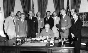 President Harry S Truman signs the north Atlantic treaty which marked the beginning of Nato.