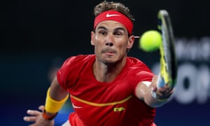 Rafael Nadal plays a forehand during his final singles match against Novak Djokovic.