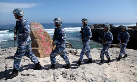 Chinese soldiers on patrol in 2019 on Woody Island in the Paracel Archipelago, which is known in China as the Xisha Islands.