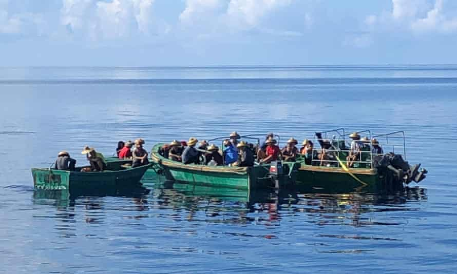 The crew of the Chinese fishing boat detained by Palauan authorities on suspicion of illegally harvesting sea cucumber.